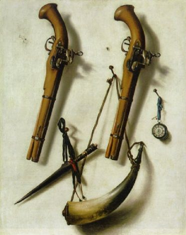 A trompe l'oeil of two pistols, a powder horn, a dagger and a watch hanging a wall by Cornelis Norbertus Gysbrechts