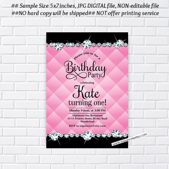 Birthday Invitation Card Design Glitter Party Any Age 10th 18th 30th 40th 50th 60th Rhinestone Bling Elegant 25
