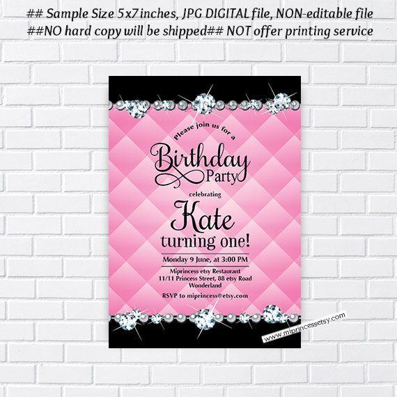 Birthday Invitation Card Design Glitter Party Any Age 10th 18th 30th 40th 50th 60th Rhinestone Bling Elegant 25