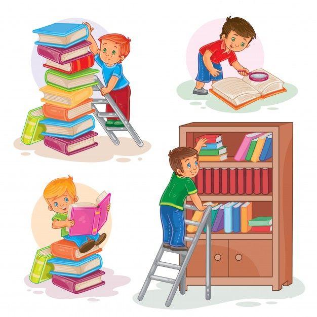 Установите значки маленьких детей, читающих книгу Бесплатные векторы