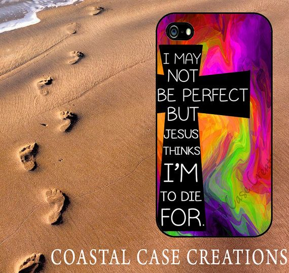 Colorful Cross Quote Apple iPhone 4 and 5 Hard Plastic or Rubber Phone Case Cover Original Design