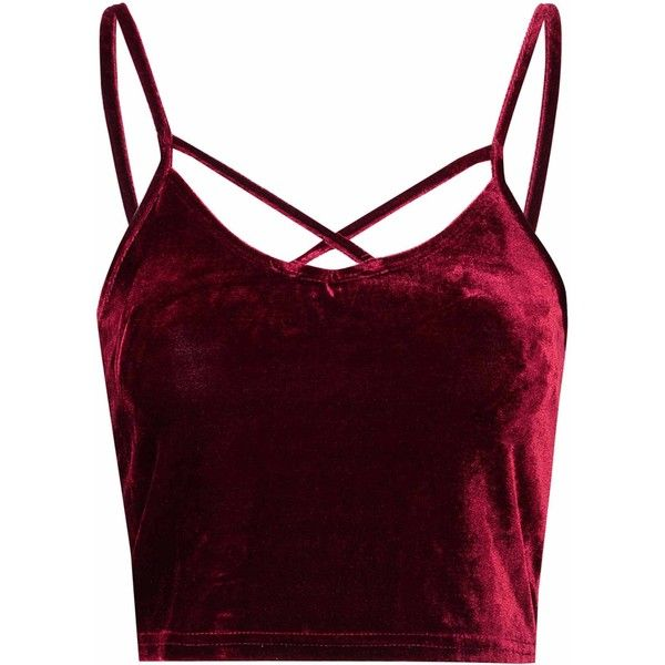 Burgundy Velvet Cropped Cami Top ($16) ❤ liked on Polyvore featuring tops, shirts, crop tops, tank tops, burgundy, surplice tops, scoop neck crop top, velvet crop top, velvet shirt and camisole tops