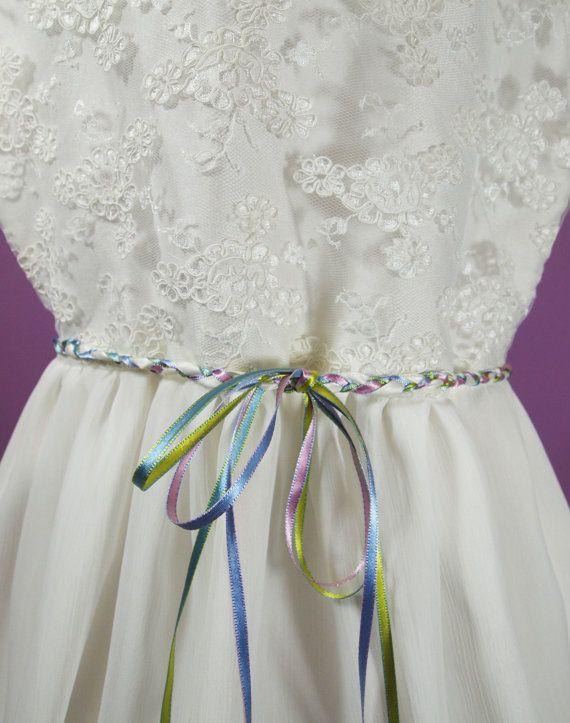 Girls Plaited Ribbon Sash Belt  Custom Made to by AnnaandAlex, £25.00