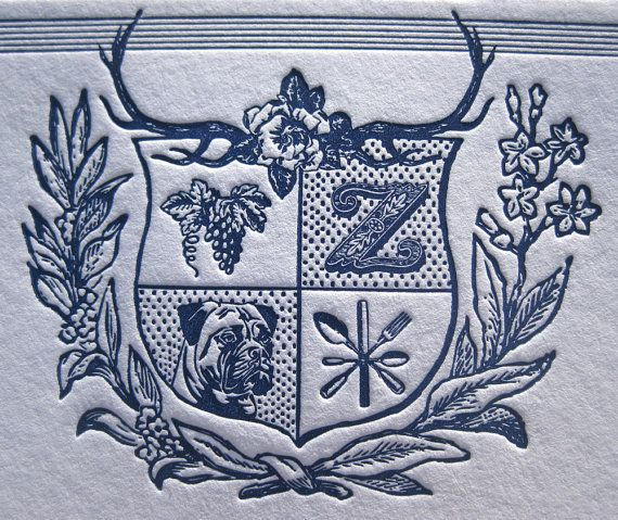 Modern Family Crest Custom Letterpress Notecards