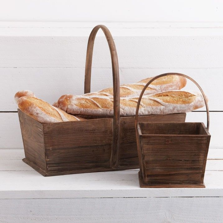 Provincial Antique Wooden Basket Large - A charming wooden basket for outdoors or indoor decoration. Also available in a small size. $44.95