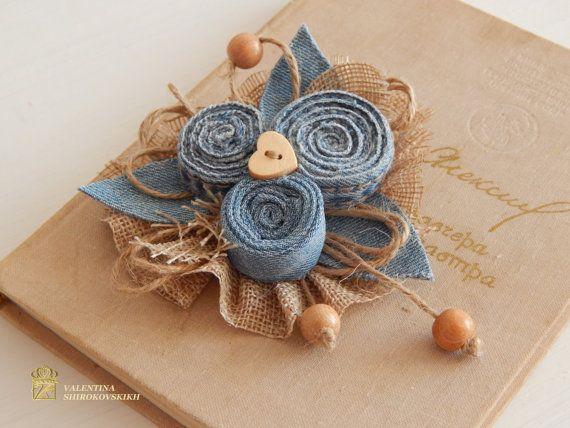 Beautiful Handmade Brooch. Jeans flower. by MyKnittedAccessories