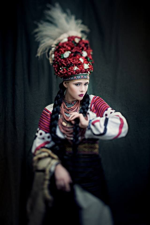 """Sincere"" project. The wedding dress from Bukovina (Chernivtsi region), end of XIX century. Headgear of a bride was made of artificial flowers and decorated with feather grass with long thin hairs. Jewelry - coral and salbі (coins), amount of which showed the wealth of a bride. Dressed: Julia Sanina (singer)"