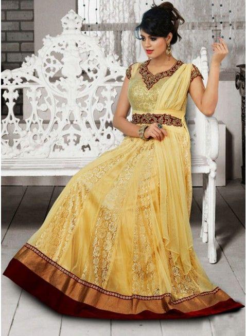 Tantalizing Pale Yellow Super Net Embellished #Salwar #Kameez  #clothing #fashion #womenwear #womenapparel #ethnicwear