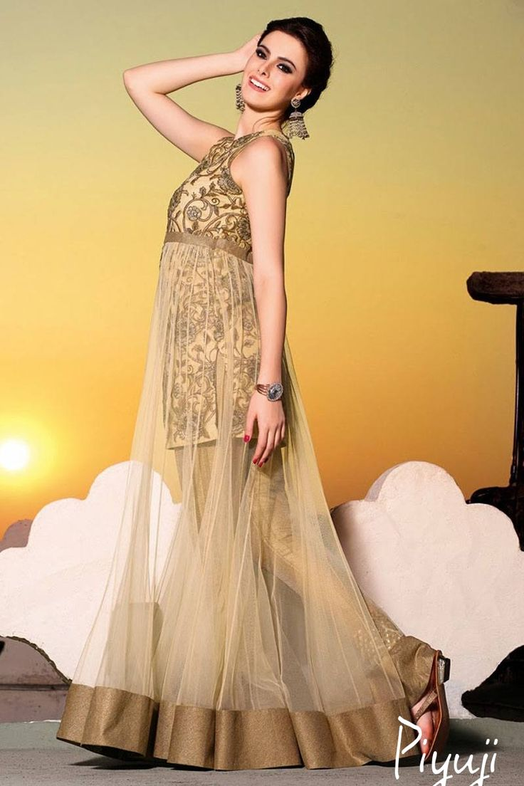 sleeve less gown style full length salwar suit