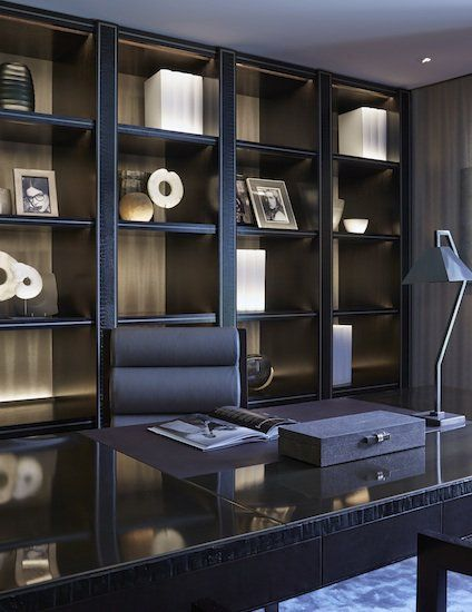 Masculine but ever stylish home office by Louise Bradley