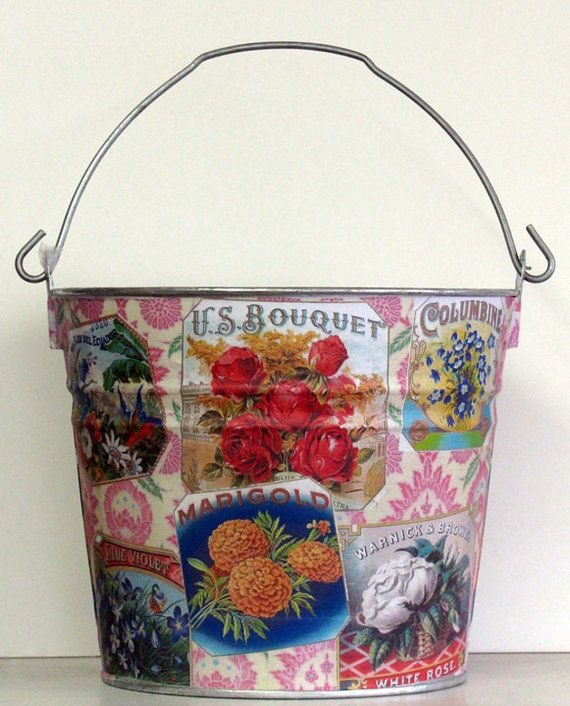 Vintage Flowers decoupage galvanized metal bucket