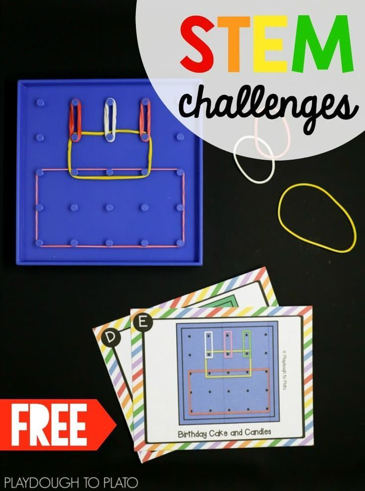 Geoboard STEM challenges! Awesome STEM center or STEM box for kids. Great math activity too!