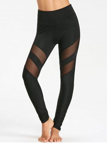 High Waist Workout Leggings With Mesh Panel  bfdd453402