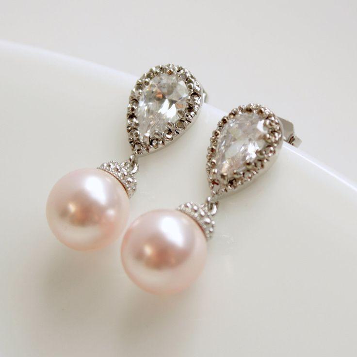 Wedding Jewelry Cubic Zirconia Pearl Bridal Earrings Bridesmaid Earrings Posts Silver with Blush Rose Swarovski Pearl Drops Pearl Jewelry. $32.00, via Etsy.