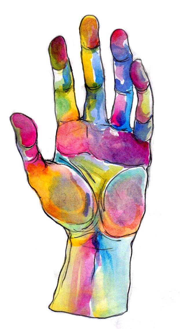 Hand study... make a contour hand drawing w/ watercolor?