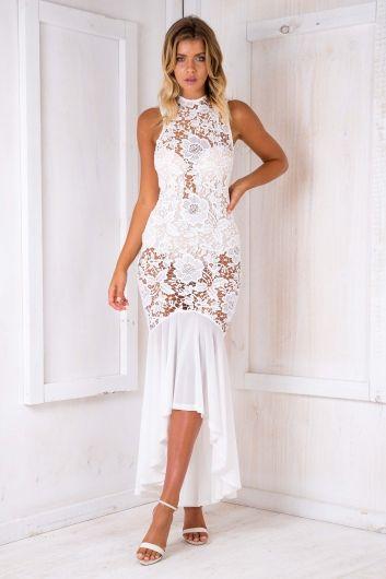 Maddy lace evening dress - White $89.95
