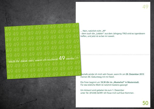 Einladungskarte zum 50. Geburtstag: Willst du dabei sein, wenn ich nochmal 49 werde? ............ **So funktioniert die Bestellung: Lege einfach die gewünschte Karte in den Warenkorb. Im...