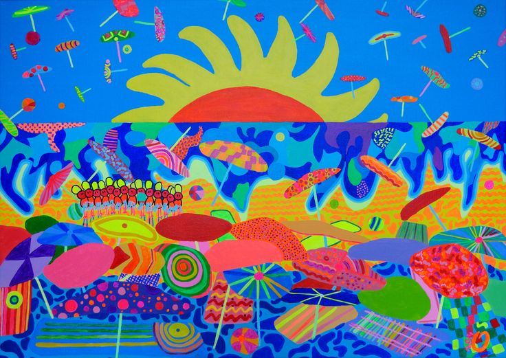 """""""Beach in motion"""". Inspired by a happy, warm and energetic summer breeze in july south coast of france. Size: 19.7 - 27.6 (50 - 70 cm). #south of france"""", #sun, #parasol, #beach, #painting."""
