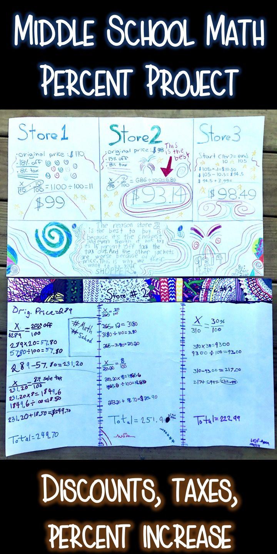 Middle School Math Project Percent Project Percent Increase Sales Discounts Taxes Math Games Middle School Middle School Math Math Projects Middle School [ 1440 x 720 Pixel ]