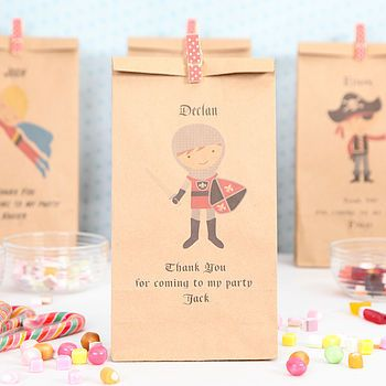 Personalized knight paper party bags... Pirate superheroes etc