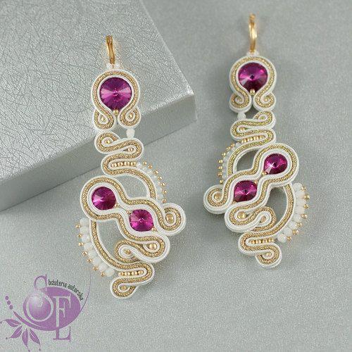 Bridal earrings - white gold fuchsia earrings - bridal crystal earrings by SzkatulkaEmi on Etsy