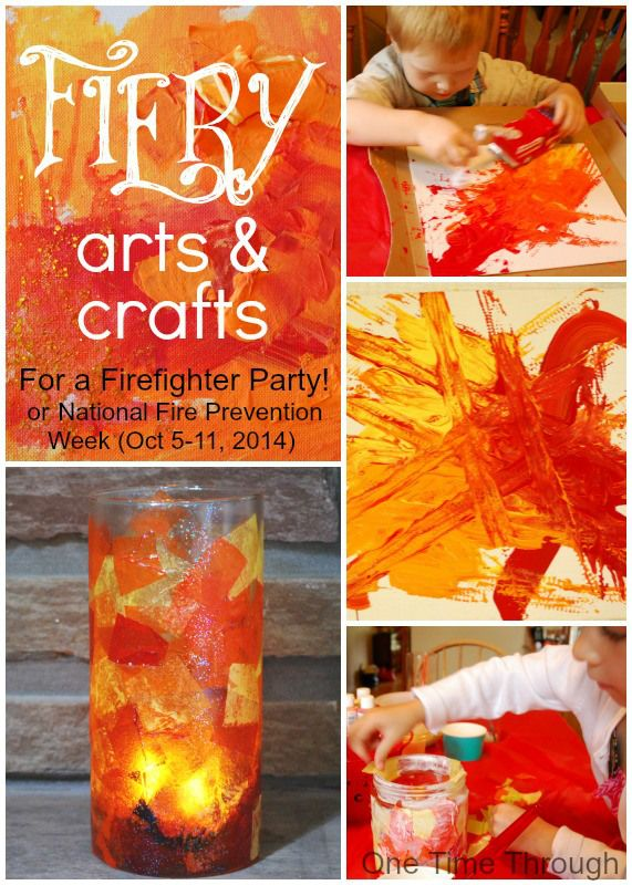 FireFighter Birthday Party: Fiery Arts and Crafts!  Also perfect for National Fire Prevention Week (Oct 5 -11, 2014 US).  {One Time Through}