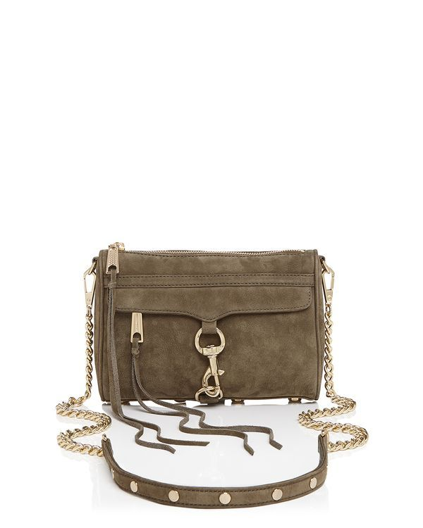 Stash your weekend or night-out essentials in this pint-size take on one of Rebecca Minkoff's most iconic downtown designs, the Mac, updated in soft nubuck. | Nubuck | Imported | Detachable crossbody