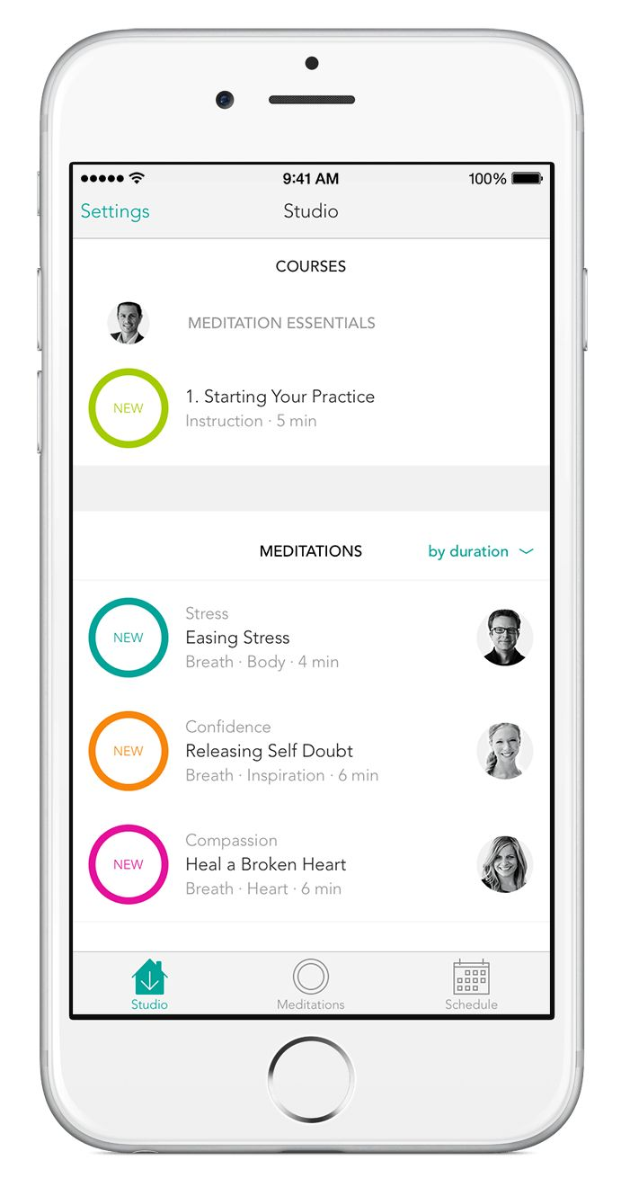 The Meditation Studio App features guided meditations for better sleep,  less stress, anxiety and pain, more confidence, greater happiness and more.