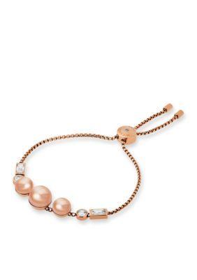 Michael Kors Women Modern Classic Pearl Rose Gold-Tone Crystal Slider Bracelet - Rose Gold - One Size