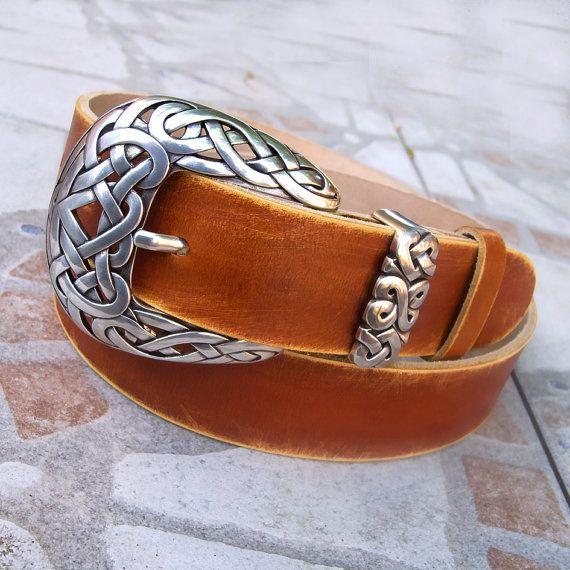 Men's Leather Belt, Rustic leather belt, Buckskin color leather belt, Distressed…