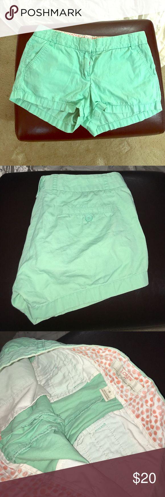 "J.CREW ""Chino Broken In"" shorts. Mint green, size6 Mint green shorts from J. CREW. Style: ""Chino Broken In"". Size 6. J. Crew Shorts"
