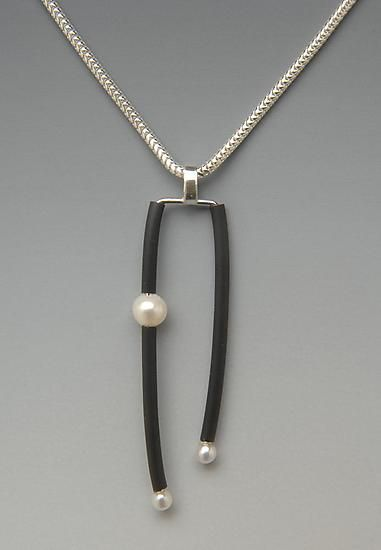 Large Promise Pendant: Lonna Keller: Silver, Pearl, & Neoprene Necklace - Artful Home