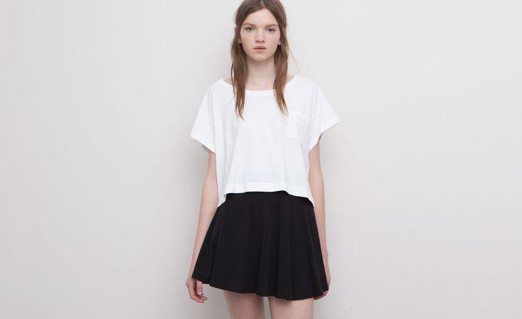 Pull&Bear - mujer - básicos - falda patinadora basica - negro - 09397331-V2015