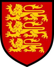 Stemma della dinastia reale dei Plantageneti. E' da notare che i tre leoni, ancor oggi presenti sulla maglia della nazionale inglese di calcio, non rappresentano, come si potrebbe pensare, Inghilterra, Galles e Scozia,  bensì i domini familiari dei Plantageneti (dopo il matrimonio di Enrico II con Eleonora d'Aquitania), ossia Inghilterra, Normandia, Aquitania.