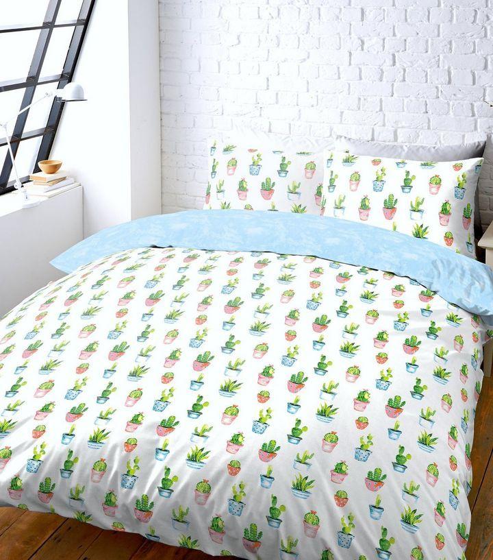 White Cactus Print Double Duvet Set   New Look
