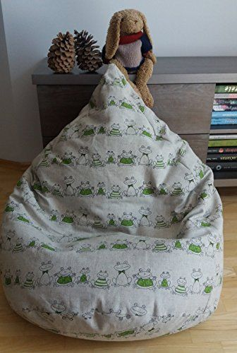IMPORTANT FILLING IS NOT INCLUDED Linen Bean Bag COVER Frogs With Velcro And Cotton INSERT Zipper Funny Frog Print This Kids Or Adults