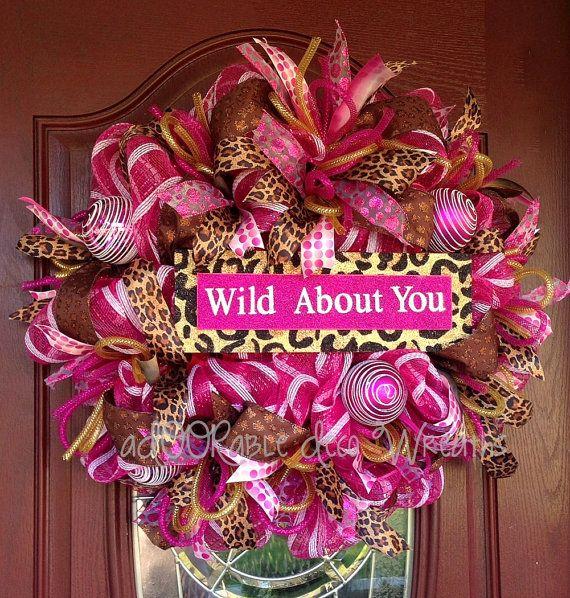Leopard and Pink Valentine's Wreath by aDOORableDecoWreaths