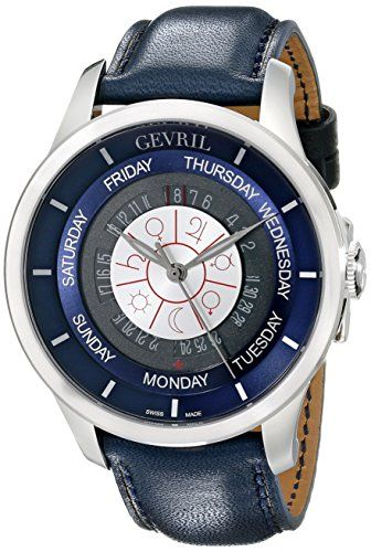 Gevril Men's 2000 Columbus Circle Automatic Stainless Steel Day-Date Watch With Handmade Leather Strap www.watchesbuy.net Price: $4,289.00