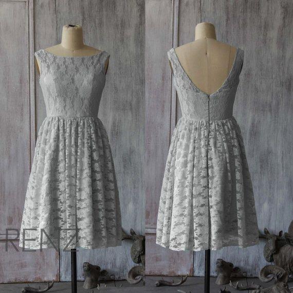 2015 New Lace Bridesmaid dress, gray bridesmaid dress, backless dress,Party dress, Formal dress, Prom Dress (F005)
