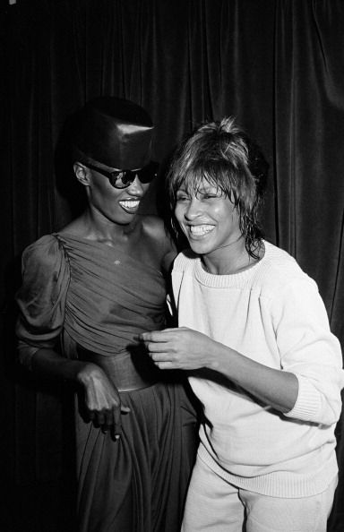 Grace Jones hanging out with Tina Turner at the Ritz Carlton Hotel in New York City after a show by Ms. Turner in May 1981. Photo: Time & Life Pictures