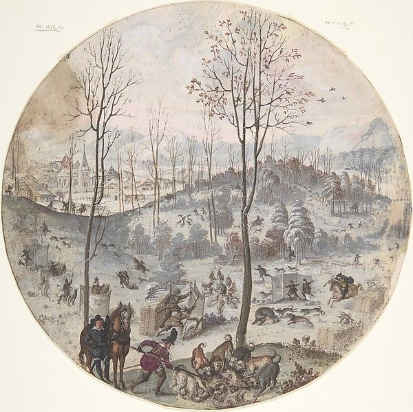 A Boar Hunt, Anonymous, Flemish, 17th century, Gouache on paper. http://riflescopescenter.com/category/bushnell-riflescope-reviews/
