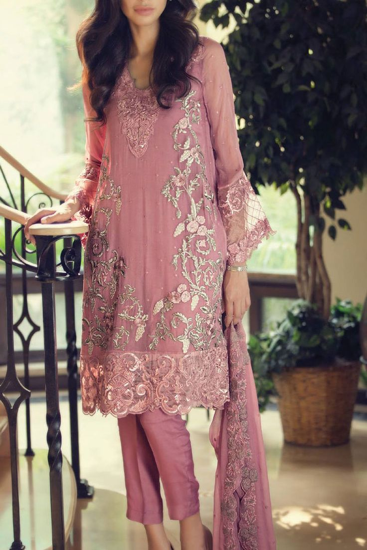 This dull tea pink embroidered chiffon dress by Maria B. to add colors to your personality for just $204.99