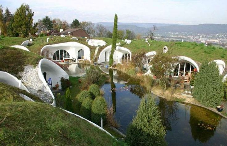 Next up, we have these modern pre-built eco-homes, designed by architect Peter Vetsch, which have be... - Peter Vetsch