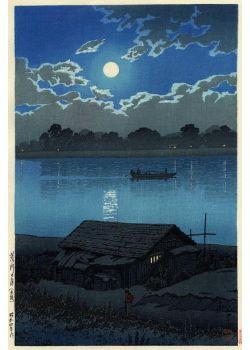 荒川の月(赤羽) Full Moon at Arakawa River 荒川の月(赤羽) 昭和4年(1929)作 「東京ニ十景」という20図シリーズの一点 「いかにもありそうな景趣である。岸辺に詫びて住む家、対岸の灯影点々、静かな図である。ねぬる児を負う女の人かげがいやに小さく見える。よい出来である。銀月のさえた空、収まるべく急いでいる雲の動きのある図取りも感じがよい。」