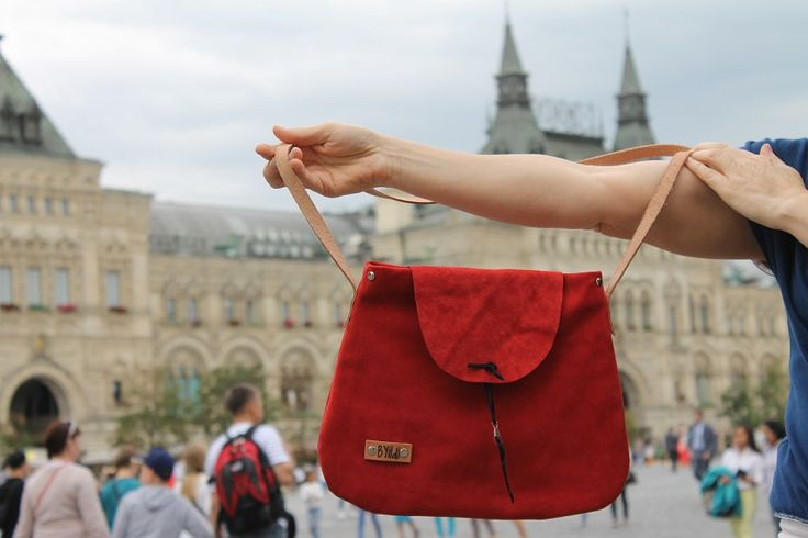 Moscow inspired Red Suede leather bagWomens toteLeather everyday bagGift for your love