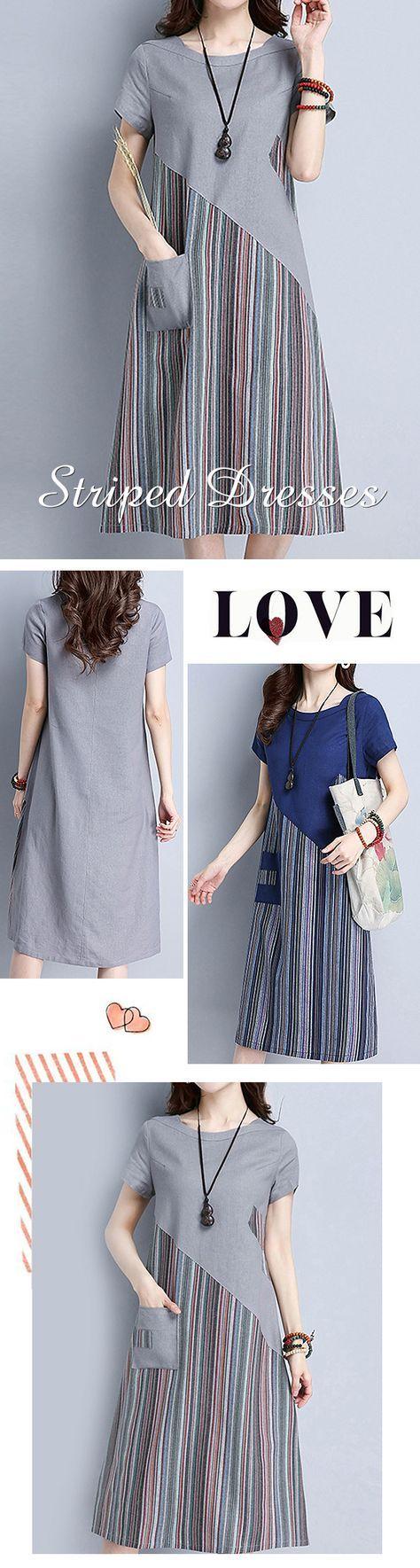 US$ 25.51 Striped Patchwork O Neck Short Sleeve Pocket Women Dresses