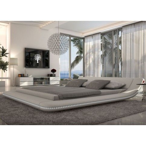 Tosh Furniture Plataforma Blanca Moderna cama con iluminación LED | Tosh Furniture Store