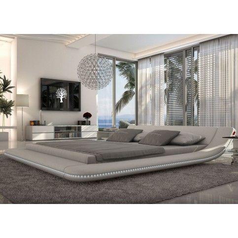 Tosh Furniture Plataforma Blanca Moderna cama con iluminación LED   Tosh Furniture Store