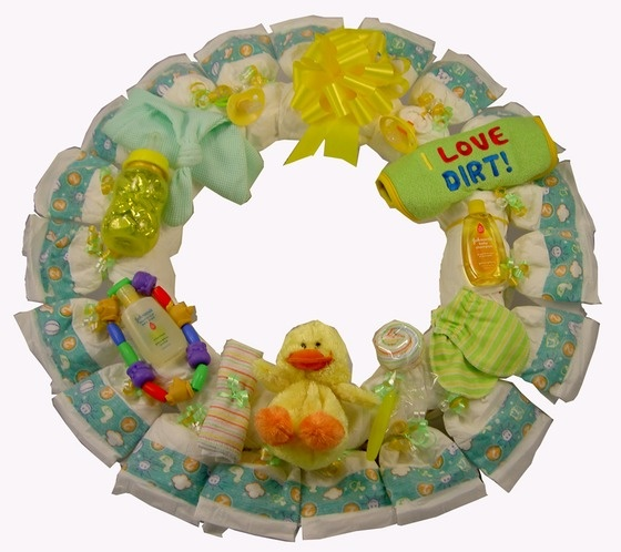 Diaper Wreath - Unisex - Perfect Baby Shower Gift $44.95