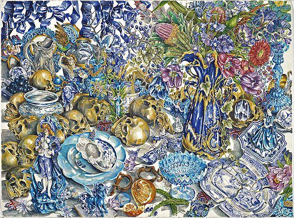Ex de medici, water colour on paper, 'Blue'